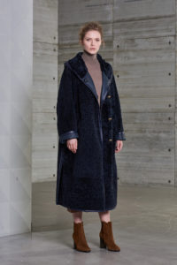 Dark blue shearling coat