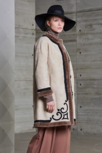Giacca Reversibile in shearling color panna