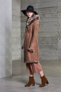 Camel colored shearling coat